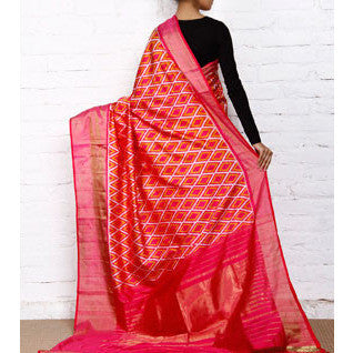 Pink Handwoven Pochampally Silk Saree