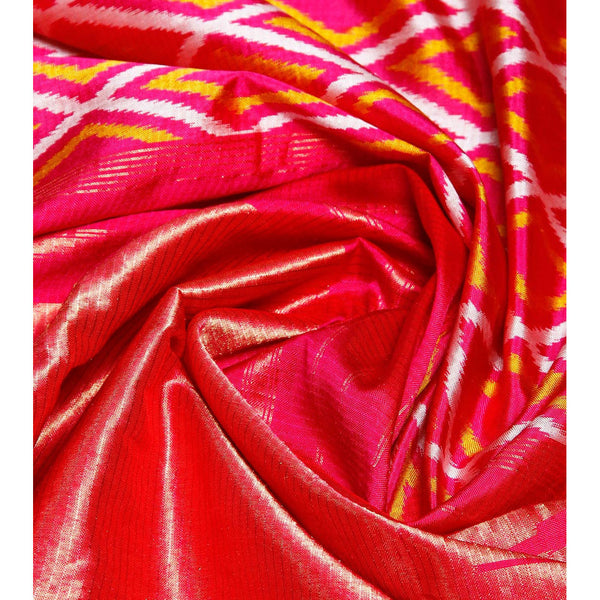 Pink Handwoven Pochampally Silk Saree - rang