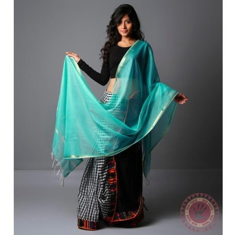 Light Blue Cotton Silk Dupatta