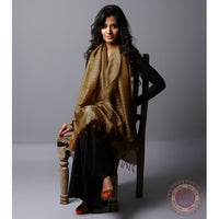 Brown Cotton Silk Stole - rang