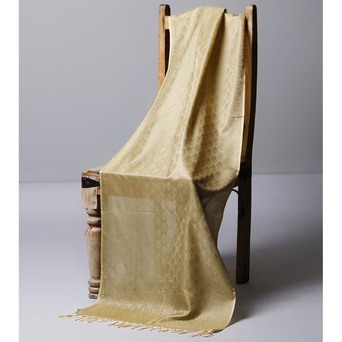 Beige Cotton Silk Stole