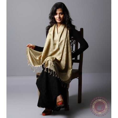 Beige Cotton Silk Stole - rang