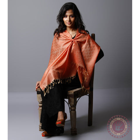 Orange Cotton Silk Stole - rang