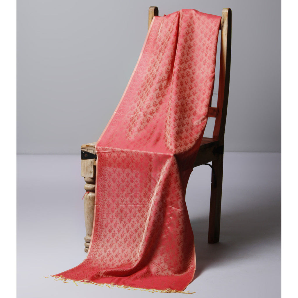 Peach Cotton Silk Stole - rang