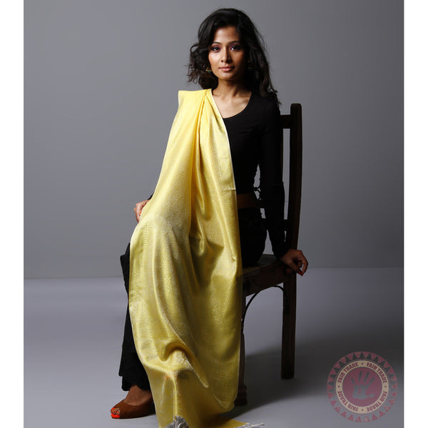 Yellow Cotton Silk Stole - rang