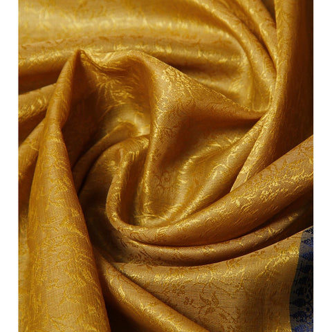 Golden & Blue Cotton Silk Stole