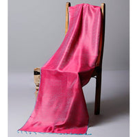 Pink & Blue Cotton Silk Stole - rang