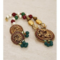 Multicoloured Embellished Temple Necklace Set - rang