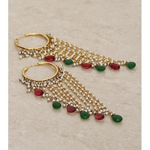 Multicoloured Embellished Bali Earrings with Multiple Drops