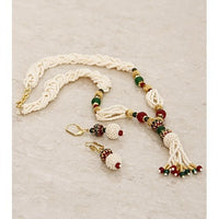 White And Red Embellished Necklace Set With Meenakari