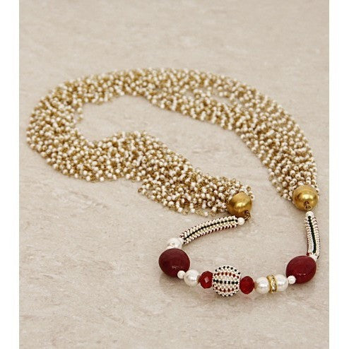 White And Red Multi Layered Necklace