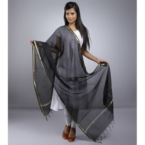 Black Dupatta With Zari Work