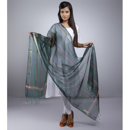 Dark Green Dupatta With Zari Work - rang