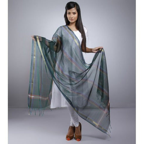 Dark Green Dupatta With Zari Work