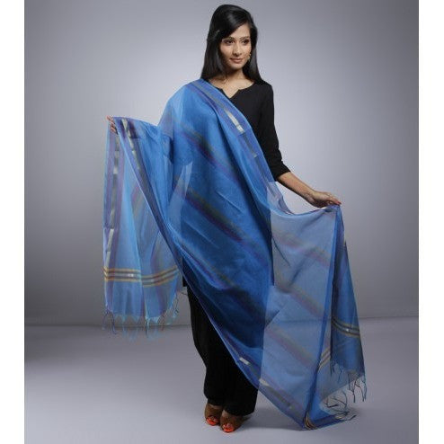 Blue Dupatta With Zari  Work (100000057596) - rang