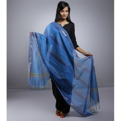 Blue Dupatta With Zari  Work (100000057596)