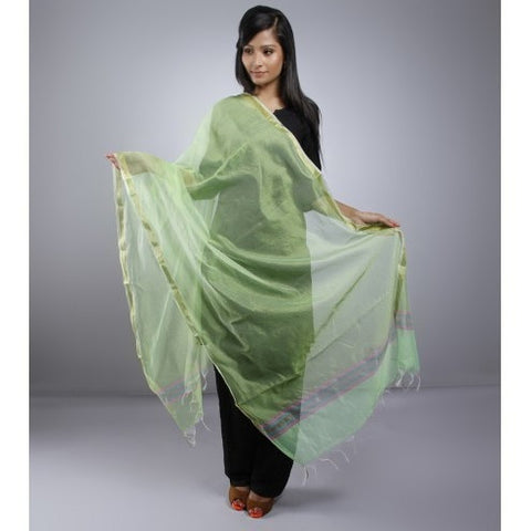 Lime Green Dupatta With Zari Work