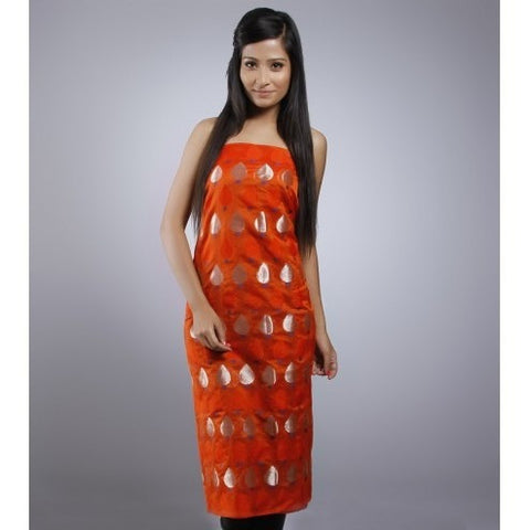 Kehri - Orange Unstitched Chanderi Silk Kurta