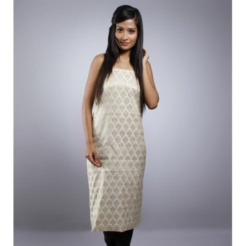 Off White Unstitched Chanderi Cotton Kurta - rang
