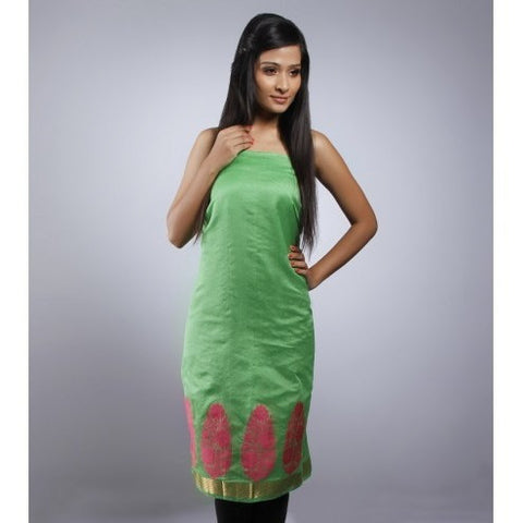 Kehri - Green Unstitched Chanderi Cotton Kurta