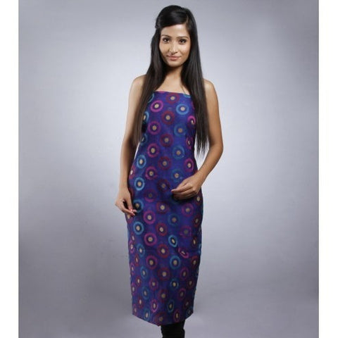 Kehri - Blue & Purple Unstitched Chanderi Cotton Kurta