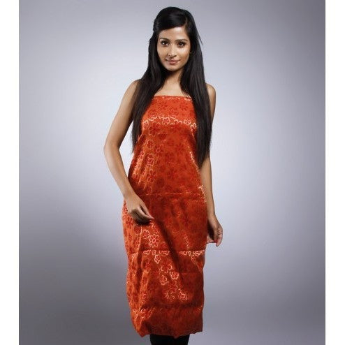Rust Unstitched Chanderi Silk Kurta