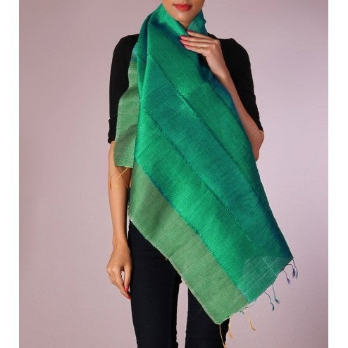 Green Striped Handwoven Raw Silk Stole - rang