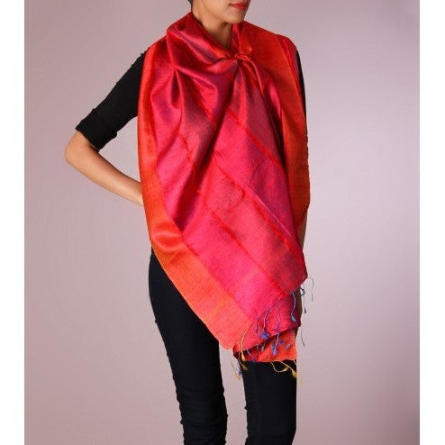 Pink & Orange Striped Handwoven Raw Silk Stole