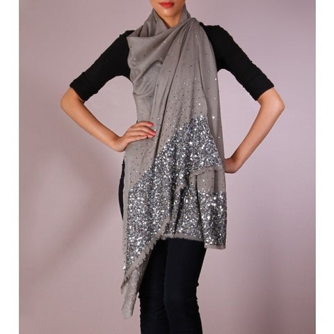 Grey Sequined Cashmere Shawl