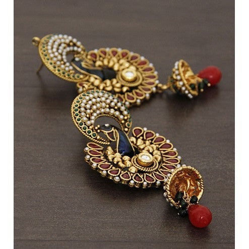 Golden Embellished Earrings (100000061614) - rang