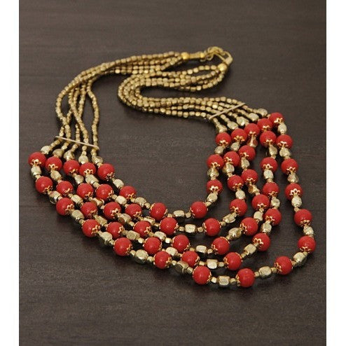 Golden and Red Embellished Necklace - rang