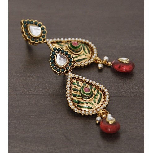 Golden Embellished Earrings With Meenakari