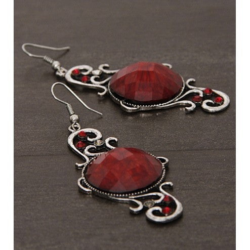 Silver and Red Embellished Earrings