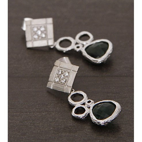 Silver and Green Embellished Earrings