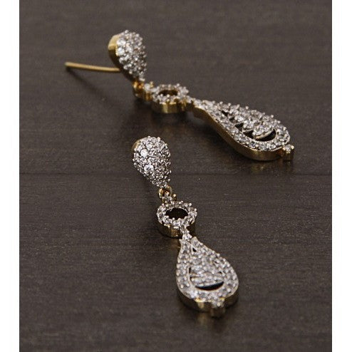Golden and Silver Embellished Earrings (100000061538) - rang