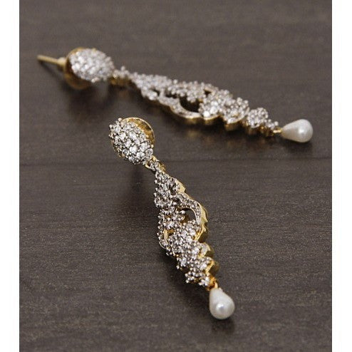 Golden and Silver Embellished Earrings (100000061544) - rang