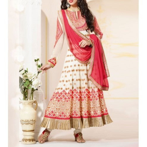 Off White Georgette Anarkali Suit with Zari Work - rang