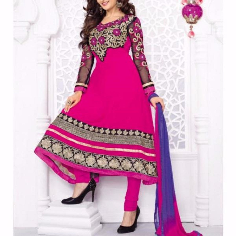 Pink Embroidered Georgette Salwar Kameez Anarkali Suit