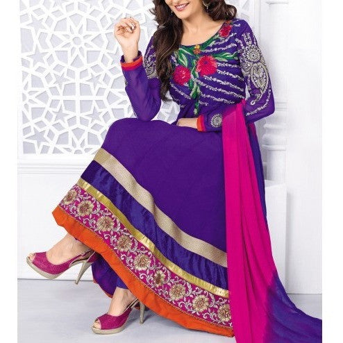 Purple Embroidered Georgette Anarkali Suit