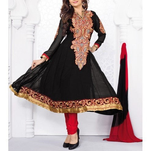 Black Embroidered Georgette Salwar Kameez Anarkali Suit - rang