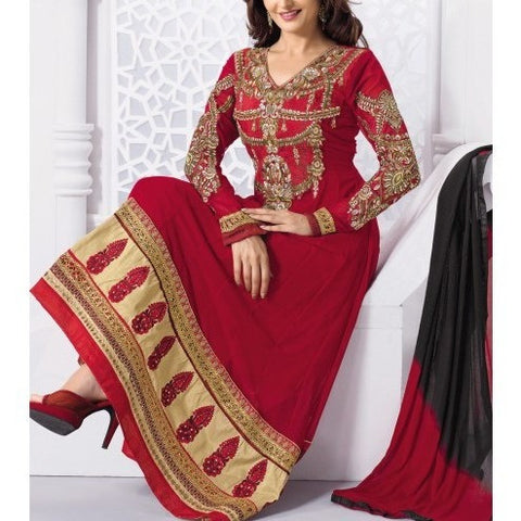 Red Embroidered Georgette Anarkali Suit