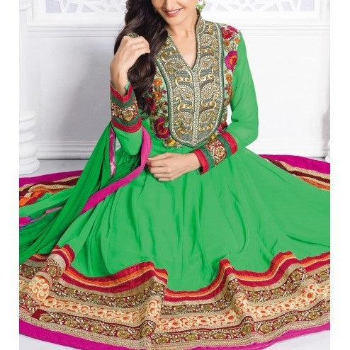 Green Embroidered Georgette Anarkali Suit - rang