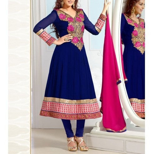 Navy Blue Embroidered Georgette Anarkali Suit
