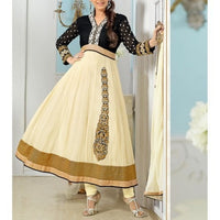 Cream Embroidered Georgette Anarkali Suit - rang
