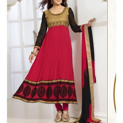 Red Embroidered Georgette - Anarkali Suit