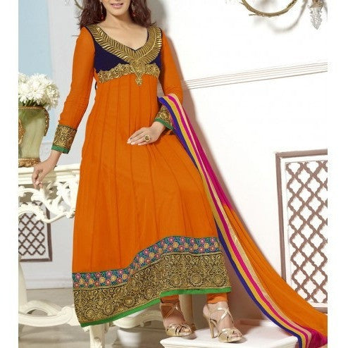 Orange Embroidered Georgette Anarkali Suit (100000060325) - rang