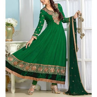 Green Embroidered Georgette Anarkali Suits - rang