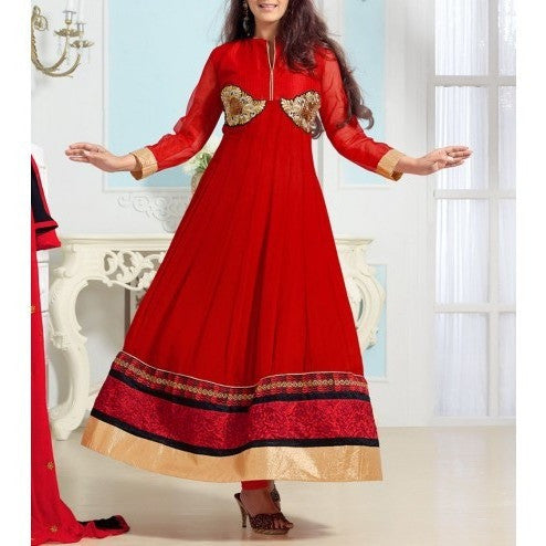 Red Embroidered Georgette Anarkali Suits