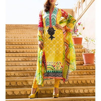 Yellow Cotton Unstitched Churidar Suit