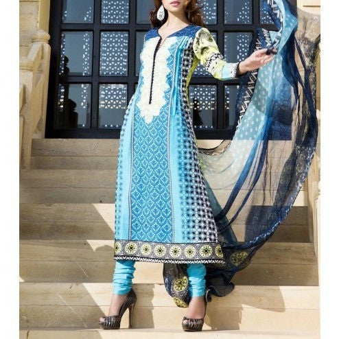 Blue & Green Cotton Unstitched Churidar Suit